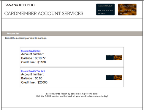 Banana Republic Visa Card - Synchrony Bank Redirect.