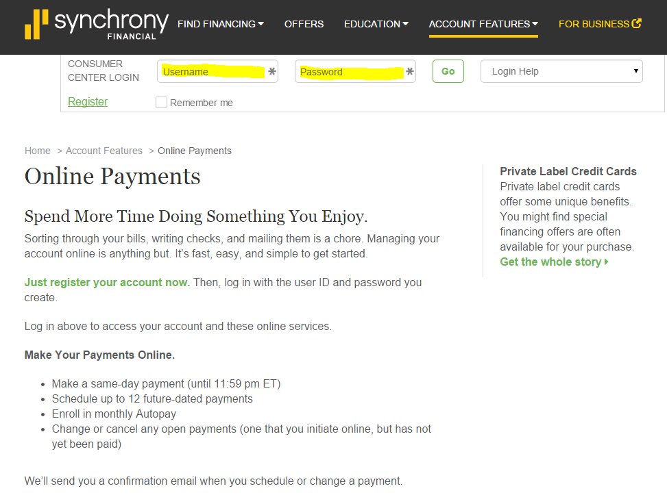 synchrony credit card bank login
