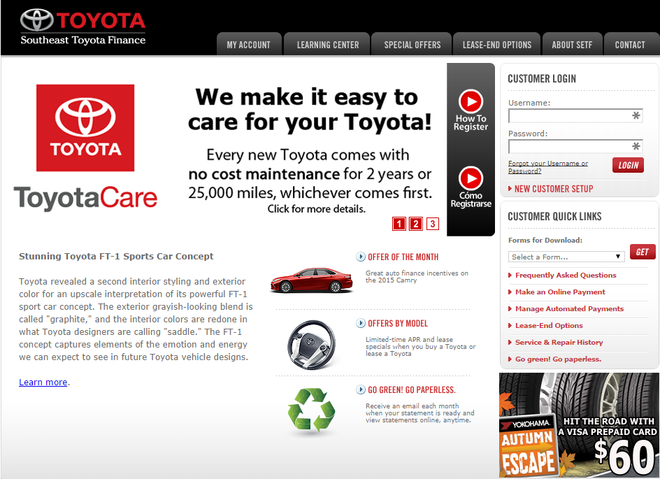 Learn How To Manage Southeast Toyota Finance Account Online Kudospayments Com