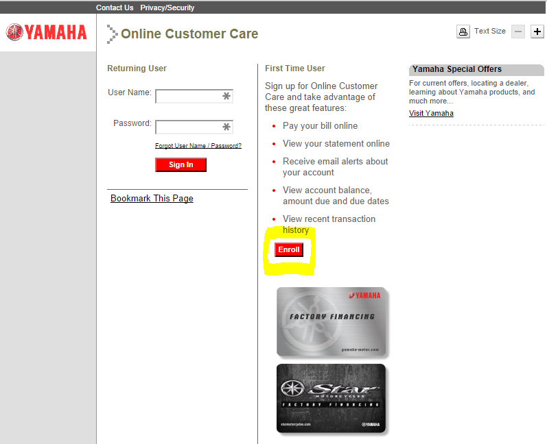 yamaha motor com cardaccount pay bill