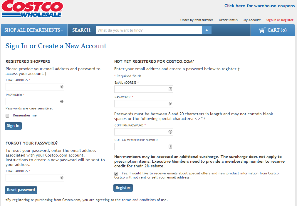 How to delete costco online account