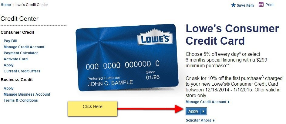 Lowes credit card apply online mycheckweb lowes com consumer credit center reheart Gallery