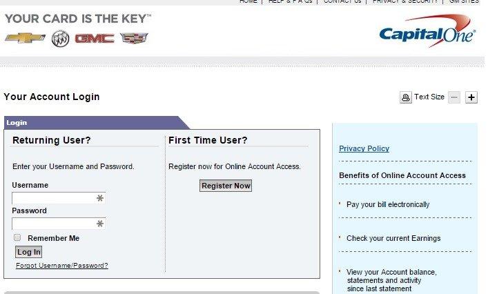 Gm Capital One >> Www Capitalonecardservice Com Login General Motors Capitalone Card