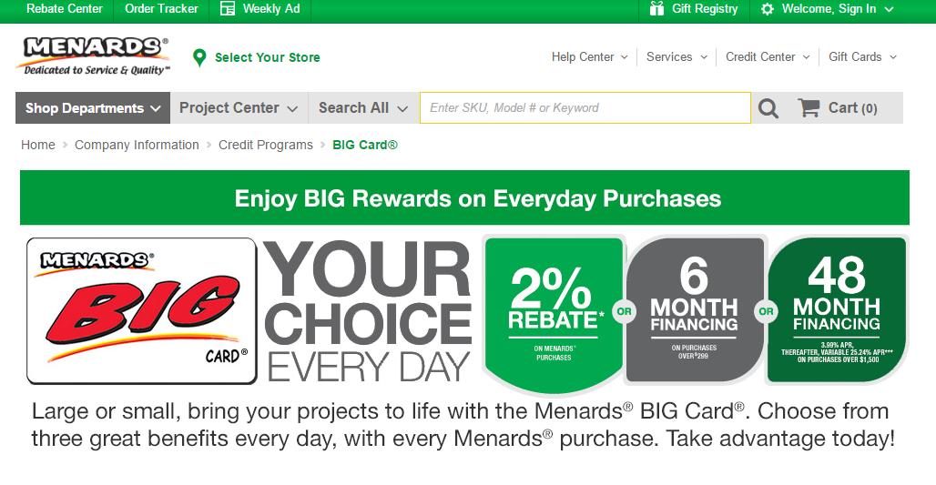 MENARDS BIG CARD PAYMENT OPTIONS