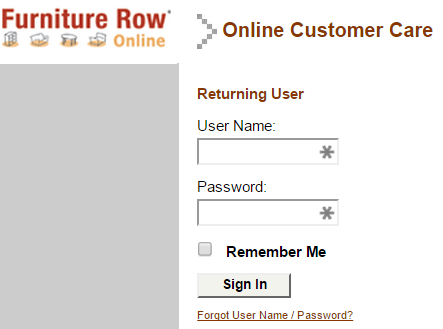 Hrs furniture row credit card login mycheckweb com for Furniture row credit card