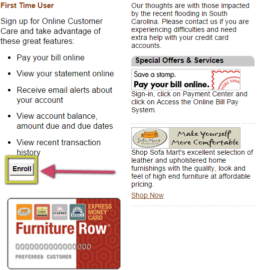 Furniture Row Credit Card Enrollment