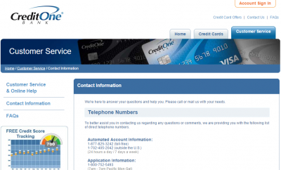 credit one bank payment phone number