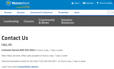 Contact Webster Bank Customer Service - MyCheckWeb.Com