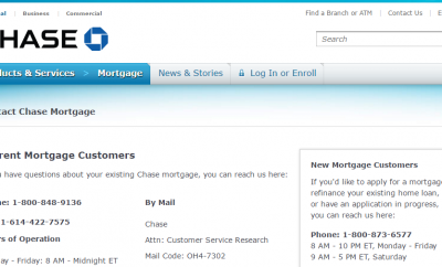 Chase Home Mortgage Customer Service Phone