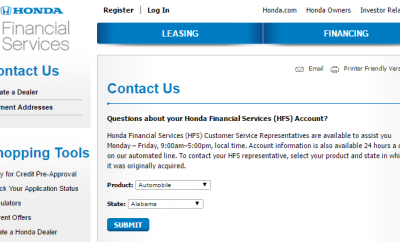 Financial services banks archives contact customer autos for Honda finance address
