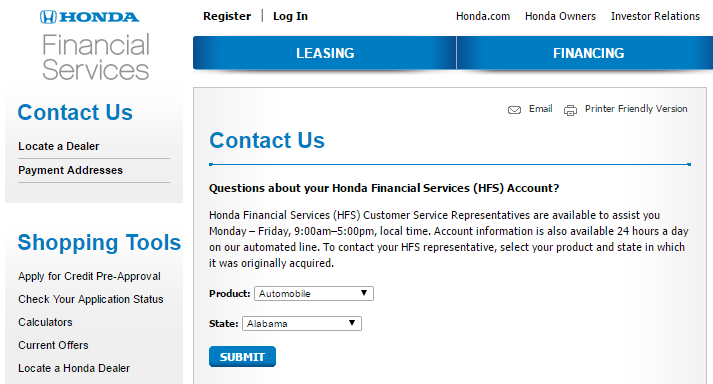 Honda Financial Services Account >> Contact Honda Financial Services Customer Service