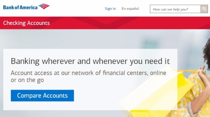 bank of america checking account applications