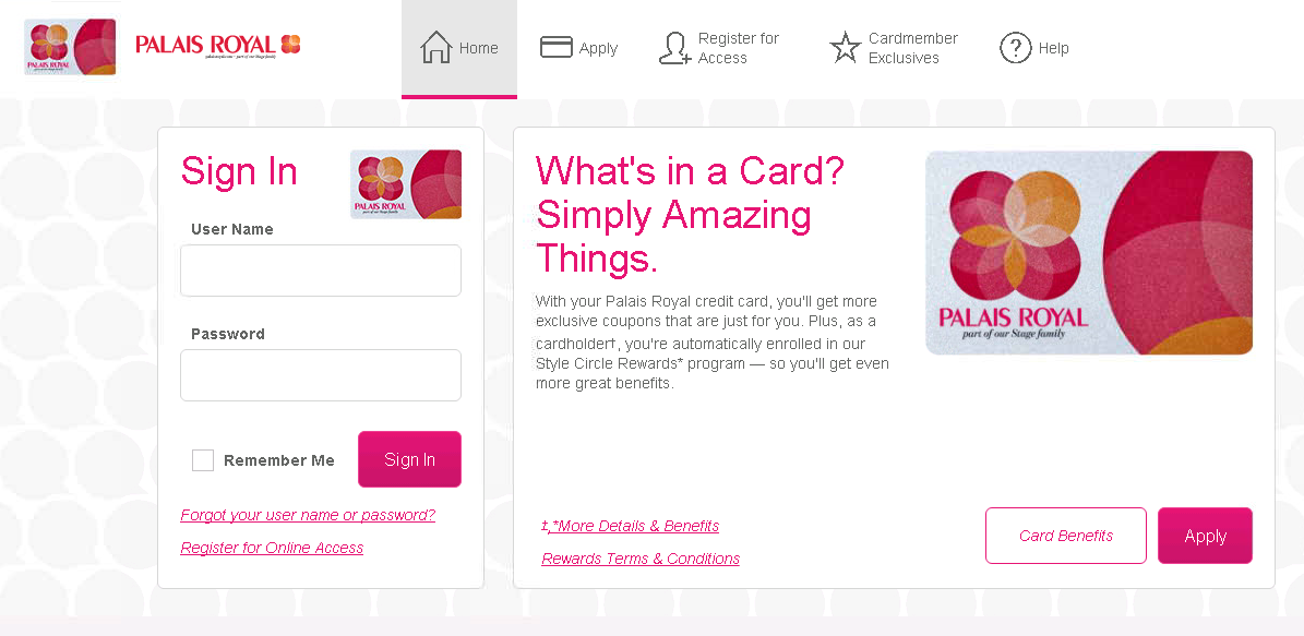 palais royal credit card payment options