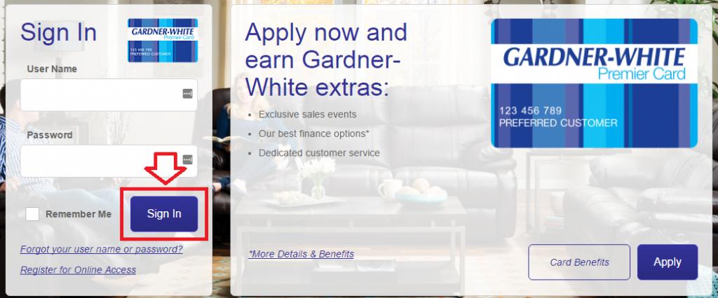 gardner white credit card login