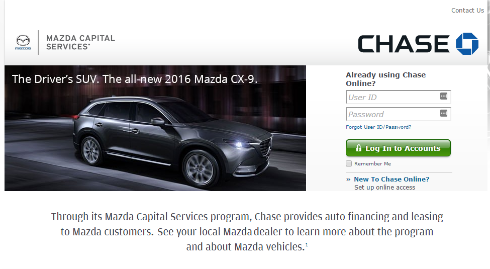 Mazda Capital Services >> Chase Com Mazda Mazda Capital Services Bill Payment Options