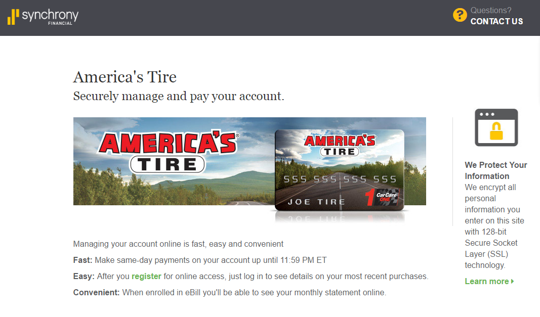 americas tire credit card payment synchrony online banking