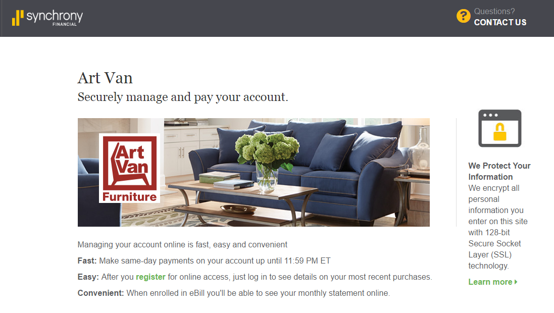 Art Van Credit Card Payment