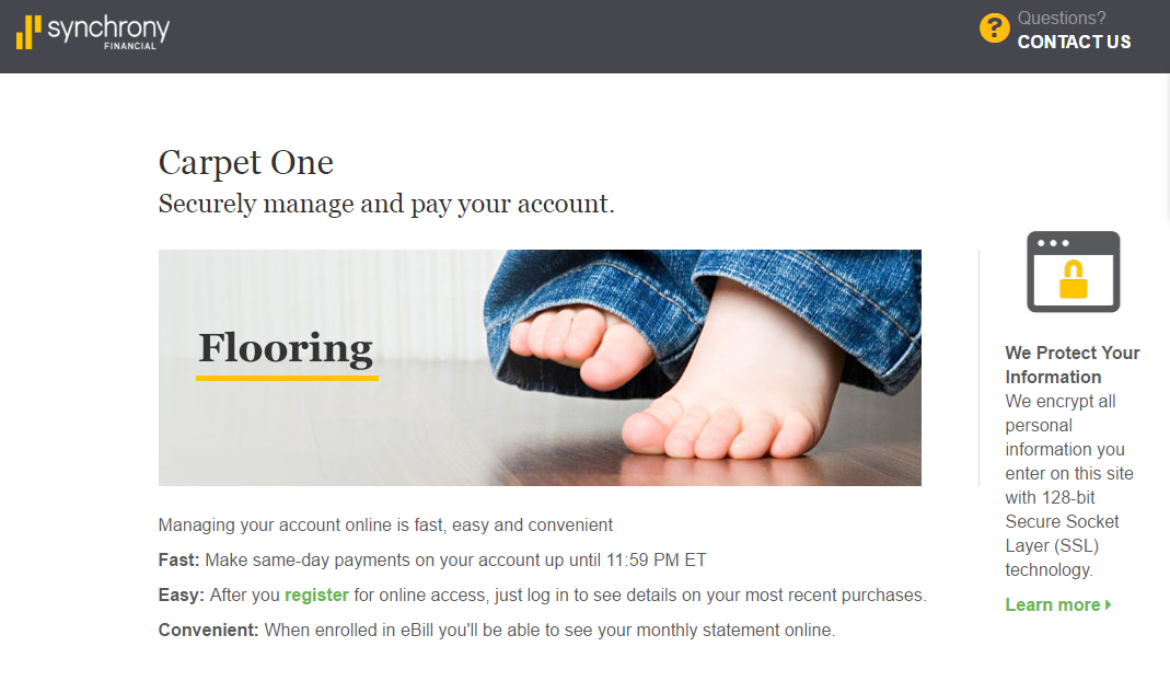 Carpet One Credit Card Payment Options Synchrony Online