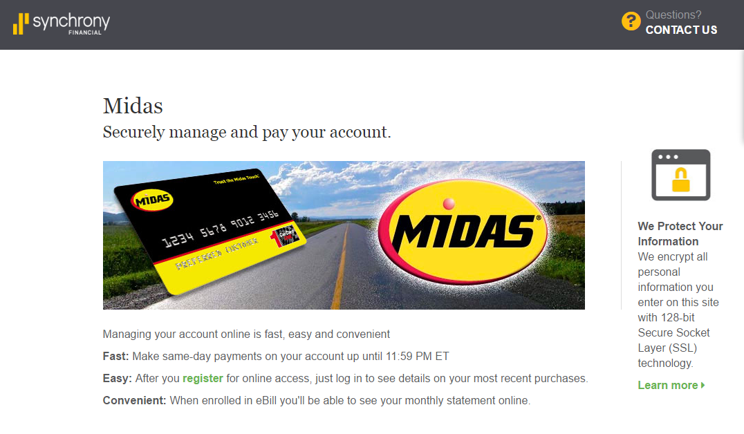 MySynchrony.Com/Midas | Midas Credit Card Payment Options