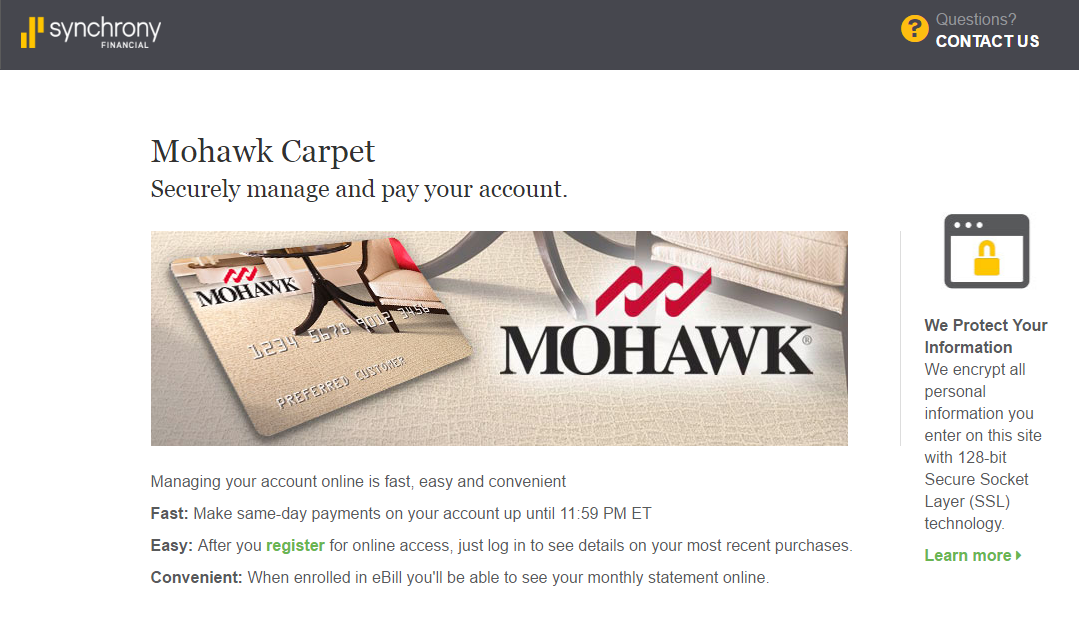 Mohawk Carpet Credit Card Payment Synchrony Online Banking