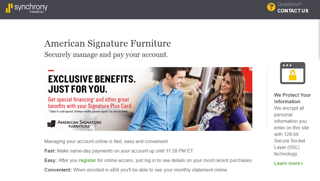 American Signature Furniture Credit Card Payment Online Banking