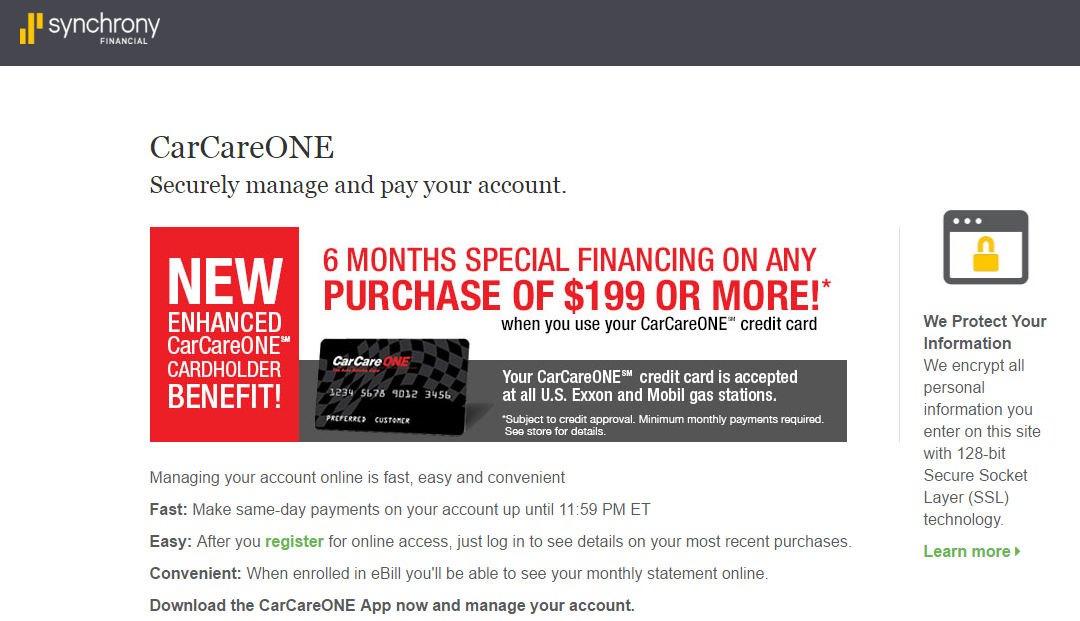 carcareone credit card payment options