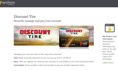 Synchrony Bank Discount Tire >> Discount Tire Credit Card Payment Options Synchrony Online