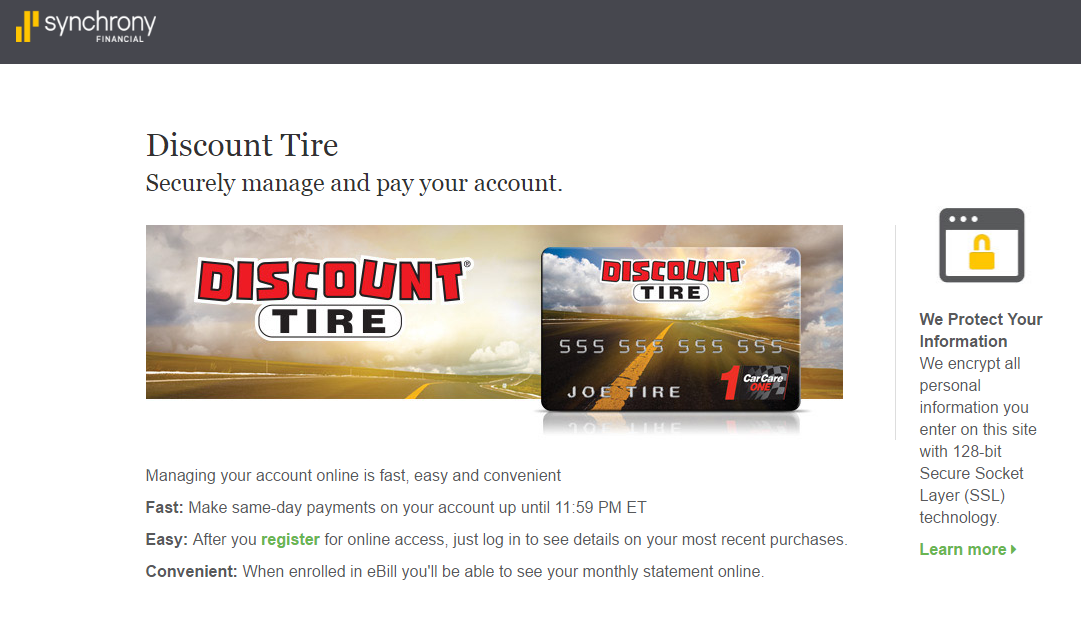 Synchrony Bank Discount Tire >> Discount Tire Credit Card Payment Options Synchrony Online Banking