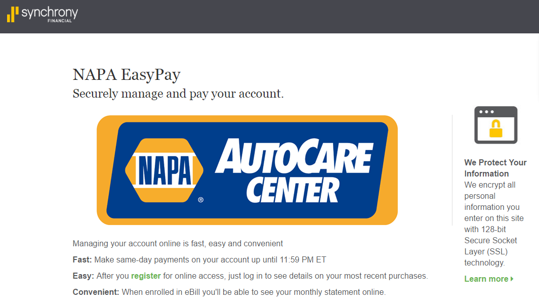 Napa easypay credit card payment options synchrony for Furniture 4 less napa