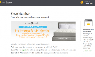Sleep Number Credit Card Payment Options - Synchrony Online Banking