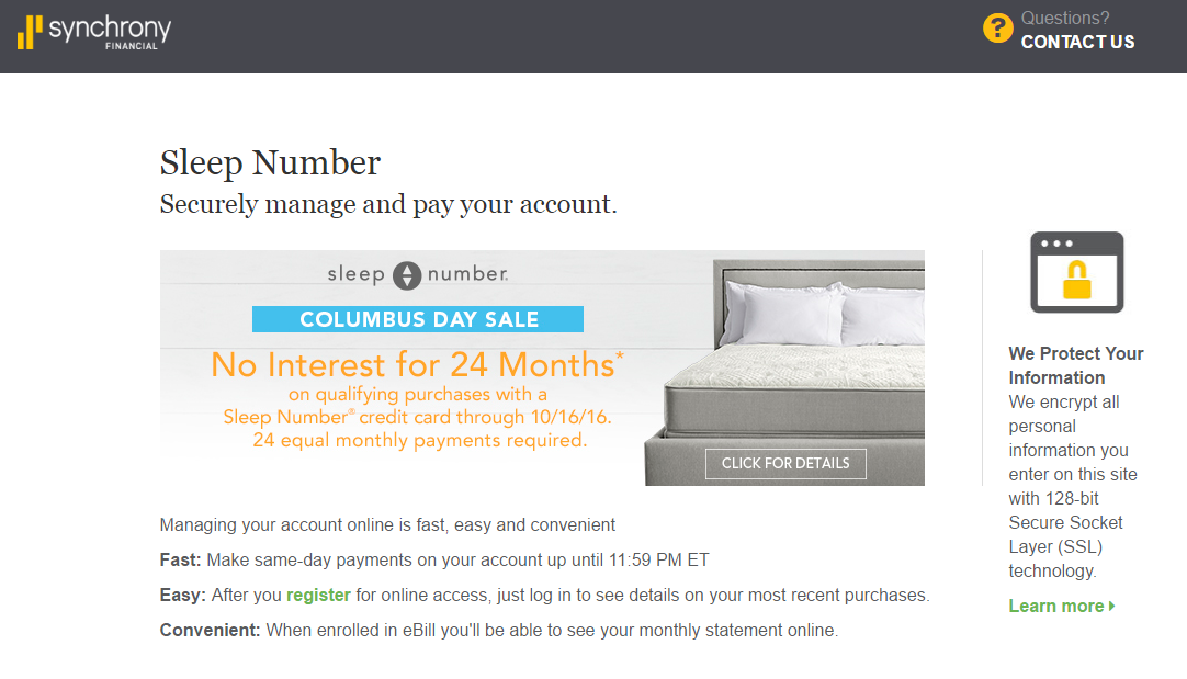 Sleep Number Credit Card Payment Options
