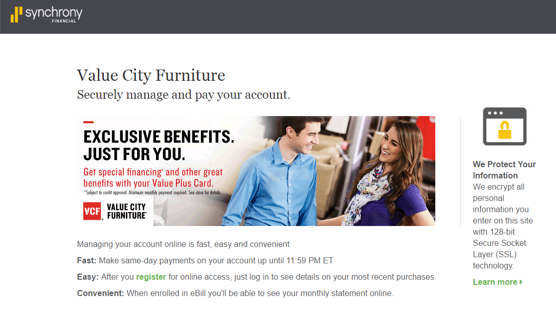 Value City Furniture Credit Card Payment Options